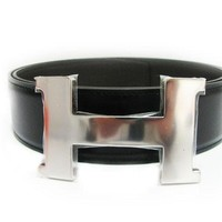 Auth Hermes Black/Brown Togo/Box Leather Metal H Belt Q-Stamp 2