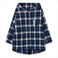 Blue Back Graphic Print Plaid Hooded Loose Top