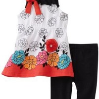 Young Hearts Baby Girls' Long Floral Tunic With Capri Length Legging Set
