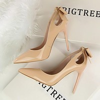 New Autumn Spring Elegant Pumps Sexy High-heeled Shoes Bow Patant Leather Thin High Heels Shallow Pointed Hollow Shoes G3168-8
