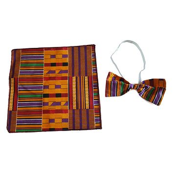 Men's Kente Ankara Fabric African Print Bow Tie and Pocket Square Hankerchief Set