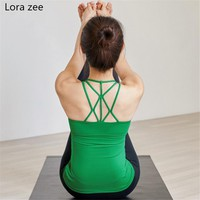 LORA ZEE Women's Green Strappy Back Yoga Shirt White Activewear Criss Cross Tank Tops With Built In Bra Workout Sleeveless Shirt