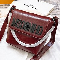 Moschino New fashion leather shoulder bag crossbody bag bucket bag Burgundy