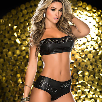 Two Piece Black Wet Look And Studded Short Set