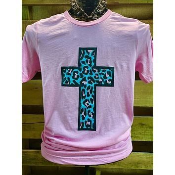 Southern Chics Apparel Turquiose Leopard Cross Pink Canvas Girlie Bright T Shirt