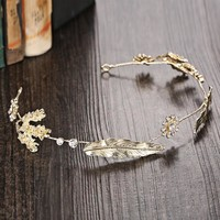 Headwear Gold Vintage Wedding Dress Hairband [8779894348]
