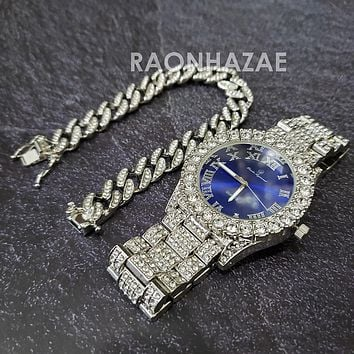 Raonhazae Silver Hip Hop Iced Lab Diamond Meek Mill Drake Blue Face 14K White Gold Plated Watch with 12mm Cuban Link Bracelet Set