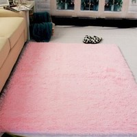 Generic Super Soft Modern Shag Area Rugs Living Room Carpet Bedroom Rug for Children Play Solid Home Decorator Floor Rug and Carpets 4- Feet By 5- Feet (Pink)