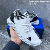 HCXX A1241 Adidas 3D Knit Breathable Slip-on Running Shoes White