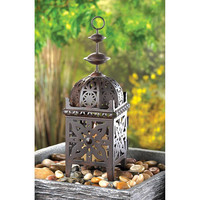 Exotic Rustic Moroccan Intricate Floral Cutout Metal Candle Holder Lantern