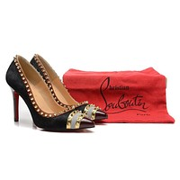Christian Louboutin Horsehair With Gold Spikes High Heels 100mm