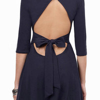 Navy Blue Skater Dress with Open Back