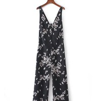 Casual Deep V-Neck Bowknot Back Hole Printed Straight Romper