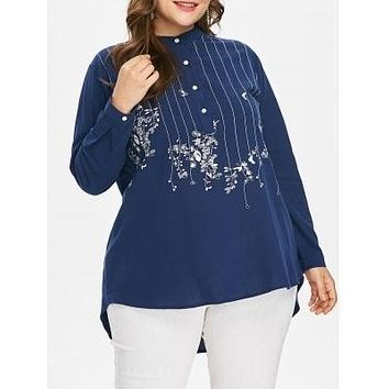 Mock Neck Stripe Embroidered High Low Long Sleeved Blouse 4266