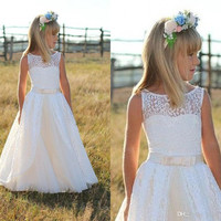 White 2016 Lovely Flower Girls Dresses for Weddings Lace Girls Pageant Dress With Bow Zipper Kids Formal Child Party Gowns FG77