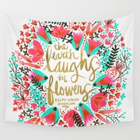 The Earth Laughs in Flowers – Pink & Gold Wall Tapestry by Cat Coquillette | Society6