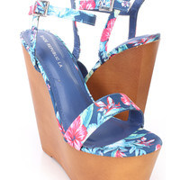 Floral Print Open Toe Wooden Platform Wedges Fabric