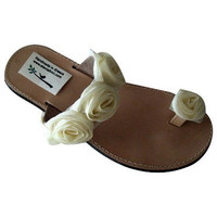 Ivory leather bridal and bridesmaid sandals! Genuine leather sandals! Bridal shoes, beach wedding sandals