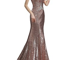 Sunvary Sequin Paillette Mermaid Prom Gowns for Wedding Party Long - US Size 6- Pale Pink