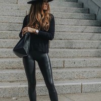 Spanx Leather Leggings- Black