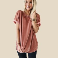 Round-neck Pullover Ladies Short Sleeve T-shirts [10946802887]