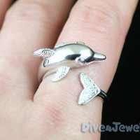 Dolphin Sterling Silver Ring Size Adjustable