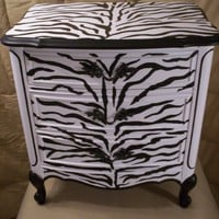 Zebra Print handpainted French provincial Night Stand