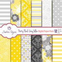 Pretty Floral Gray Yellow Digital Paper Pack 12x12 Instant Download
