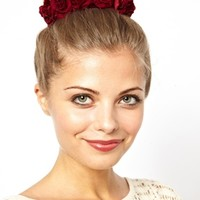 Rock N Rose Exclusive For ASOS Red Beatrice Floral Round The Bun Hair Band