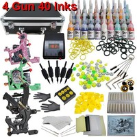 Professional Tattoo Kit with 4 Tattoo Machine, LCD Power Supply, and 40 Color ink, Model DVK-3