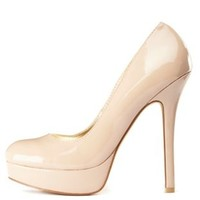 Round Toe Platform Pumps by Charlotte Russe - Nude
