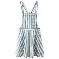 Denim Striped Suspender Mini Skater Dress