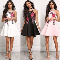Plunging Fit and Flare Dress with Floral Embroidery