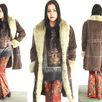 Vintage 90s FAUX FUR Patchwork Pig Leather Suede Coat Jacket // Chocolate Brown Tan // Hippie Gypsy Boho // XS / Small / Medium