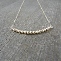 14k gold filled curved bead bar necklace / bridesmaid necklace / dainty necklace / minimalist necklace
