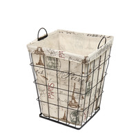 """Multi-Purpose Tall Square Iron Basket with """"Paris"""" and Eiffel Tower Print Liner Travel Europe"""