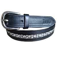 Black Leather hhW Equestrian Stellux Crystal Bling Belt for Dressage, Show Jumping, Casual Wear