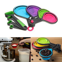 Healthy Silicone Measuring Cups Spoon Kitchen Tool Collapsible Baking Cooks HU
