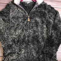 Long Sleeve Black Sherpa Pullover (S-XL)