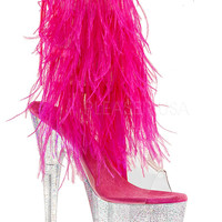 Pink Marabou Stripper Ankle Boot With Clear Glitter Platform