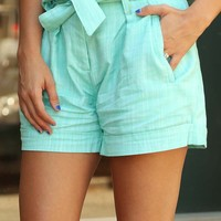 Love In Leisure Shorts: Mint
