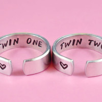 Twin One, Twin Two -- Hand Stamped Sister Ring Set, Twin Sisters Matching Pair Rings, BFF Friendship Rings, Personalized Gift