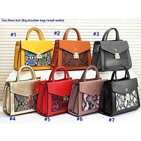 Hermes fashionable casual lady Mosaic color snake-pattern shopping bag two-piece set of shopping bag