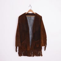 fringe jacket, brown suede jacket, suede fringe jacket, brown leather jacket, leather fringe jacket, southwest fringe 70s hippie jacket m l
