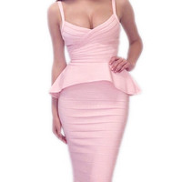 Pink Little Mermaid Two Pieces Bandage Dress