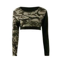 Womens Camouflage Yoga T Shirt Cropped Long Sleeve Tops Running Sports Leggings Fitness Jogging Female Shirt Tee Workout