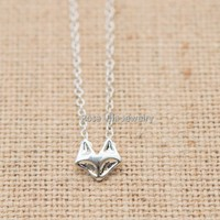 Minimalist Silver Fox Necklace