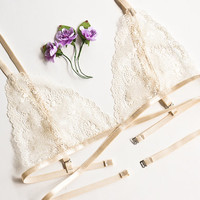 Lace bra lace bralette soft bra underwear sexy lingerie crop top sheer triangle scalloped see through lingerie lacy intimates honeymoon
