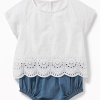 2-in-1 Eyelet Top & Chambray Bubble One-Piece for Baby|old-navy