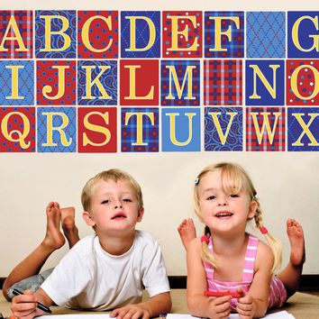 Alphabet Blocks in Primary Colors Wall Decals, Eco-Friendly Matte Wall Stickers